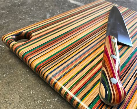 chefs knife  recycled skateboard handle