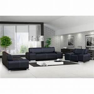 ensemble canape et fauteuil 321 flavio noir achat With tapis moderne avec salon cuir canapé 2 fauteuils