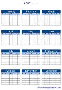 Printable Blank Yearly Calendars Templates