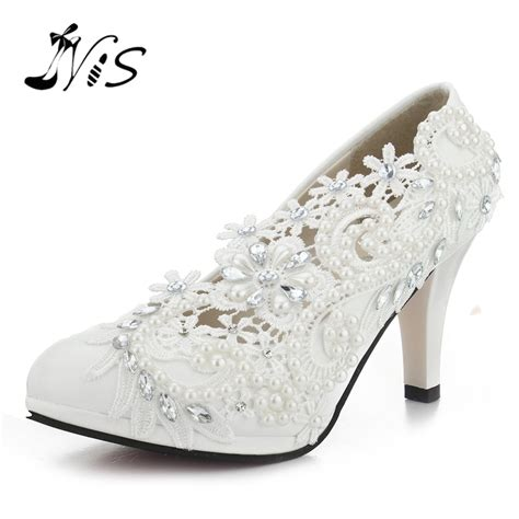 Wedding Shoes by Pumps Handmade Lace Pearl Wedding Shoes Rhinestones White