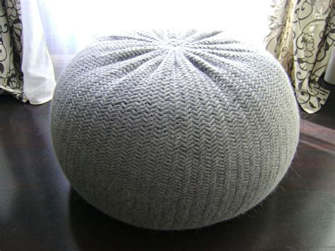 diy tutorial large knitted pouf poof ottoman by
