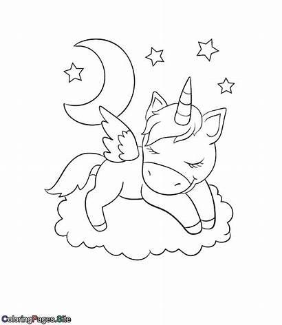 Unicorn Coloring Sleeping Cloud Einhorn Ausmalbilder Coloringpages
