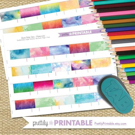 printable blank bible tabs watercolor  tab punch set