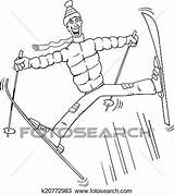 Ski Coloring Man Jump Fotosearch Clipart Jumping Illustrations Cartoon Funny sketch template