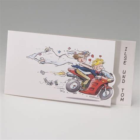 hochzeitseinladung mit lustigen motorrad comics