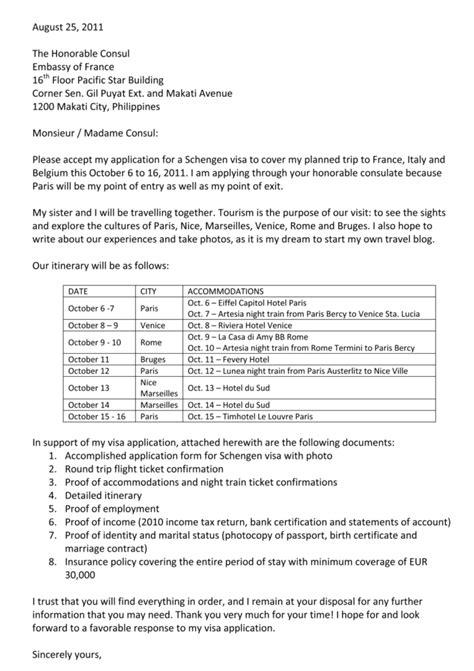 Visa Application Cover Letter Germany - Schengen Visa