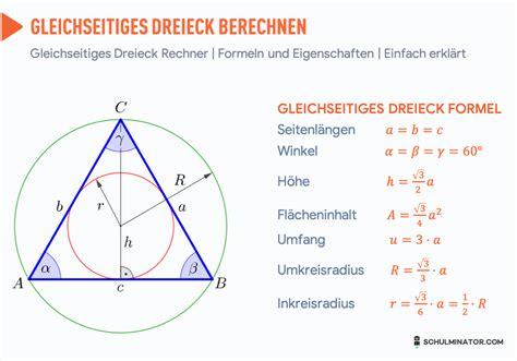 gleichseitiges dreieck berechnen flaeche hoehe formel