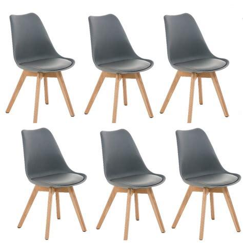 lot de 6 chaises de salle 224 manger scandinave simili cuir gris pieds bois cds10202 d 233 coshop26
