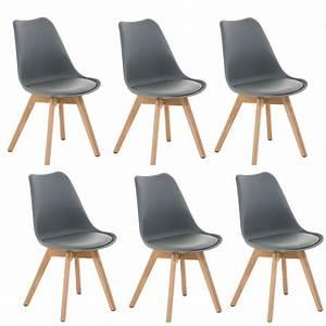 Lot De 6 Chaises Salle à Manger : lot de 6 chaises de salle manger scandinave simili cuir gris pieds bois cds10202 d coshop26 ~ Teatrodelosmanantiales.com Idées de Décoration