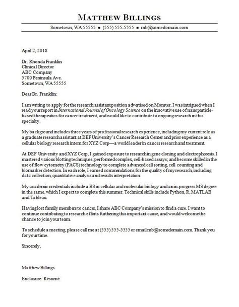 research assistant cover letter sample monstercom