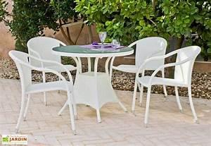 Table De Jardin Blanche : salon de jardin en r sine tress e blanche calblanc table 4 fauteuils exklusive hevea ~ Teatrodelosmanantiales.com Idées de Décoration