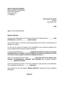 modèle de lettre pour paiement repos compensateur modele lettre heures supplementaires document