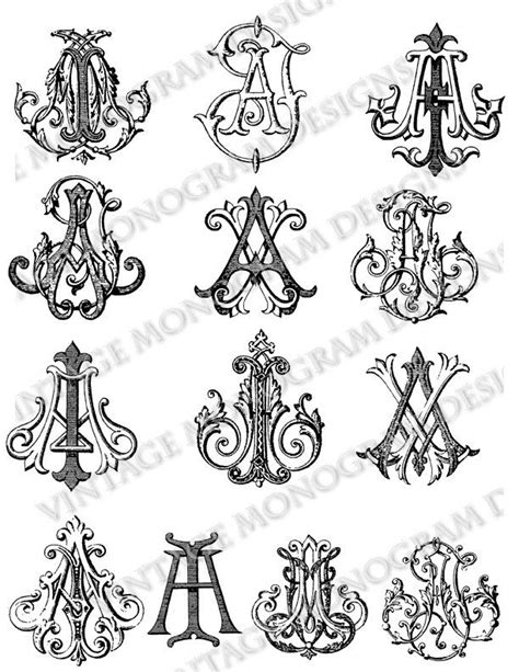 Mini custom collection of vintage monograms compiled from