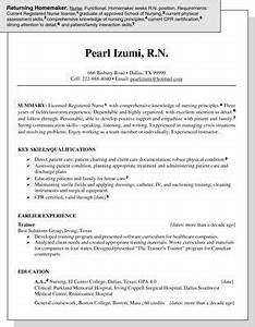 sample resume for a homemaker re entering the job market With sample resume for housewife returning to work