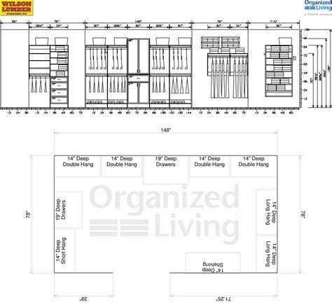 dimensions cuisine arrangement standard depth of walk in closet