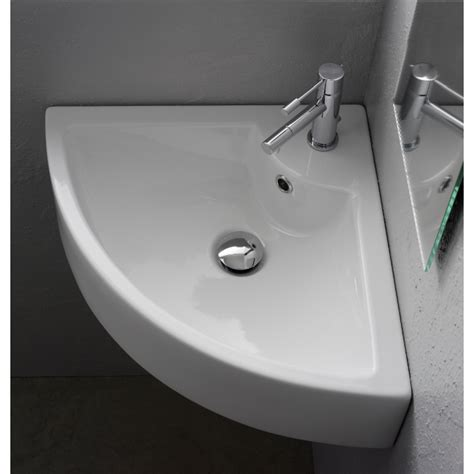 square white ceramic wall mounted or vessel corner sink in