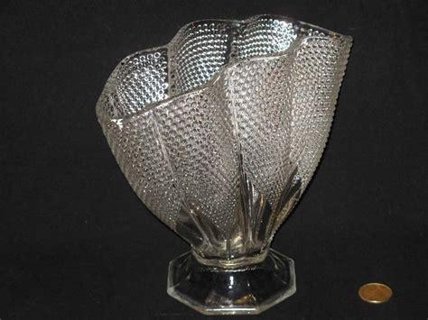 hobnail quot thousand quot fan shaped clear glass flower vase