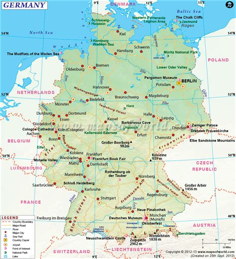 map  germany shows roads airports national capital