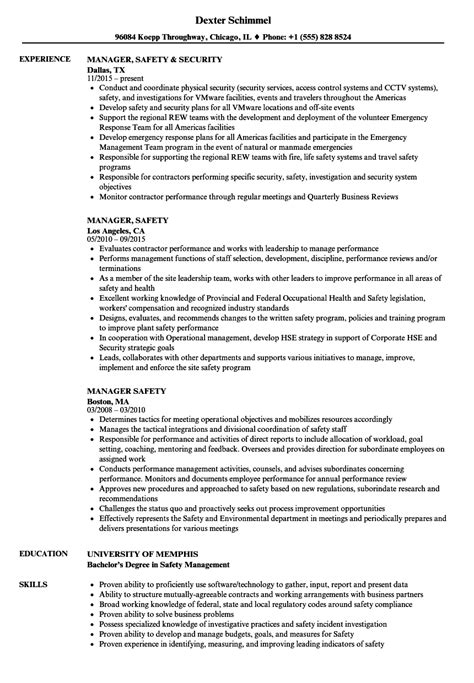 Safety Manager Resume by Manager Safety Resume Sles Velvet