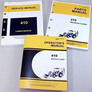 Service Manual Set For John Deere 410 Backhoe Loader Parts