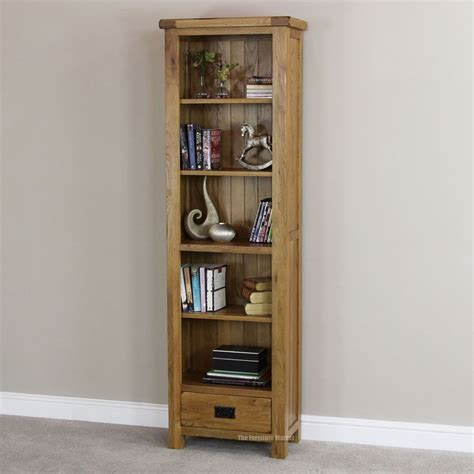 Narrow Bookshelf With Drawers by Rustic Oak 1 Drawer Narrow Bookcase Living Room