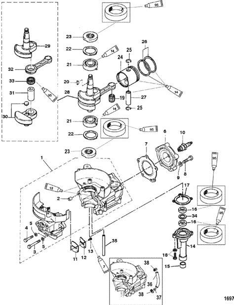 mercury marine  hp  stroke cylinder block crankshaft
