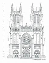 Gothic Architecture Cathedral Coloring Window Pages West Western Towers Facade Washington National Arches Prominent Pointed Honors Tradition Grand Rose Week sketch template