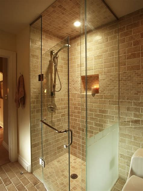 eclectic curbless shower bathroom design ideas pictures