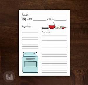 Retro Recipe Card 8 5 X 11 Digital Download Printable Recipe