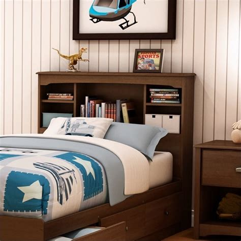 south shore nathan kids twin bookcase headboard  cherry