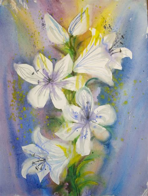 paint easter lilies  watercolor  steps