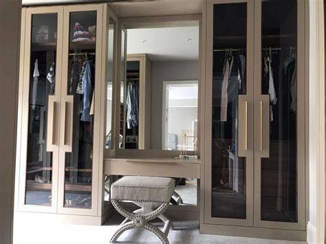 luxurious dressing room  glazed fitted wardrobes