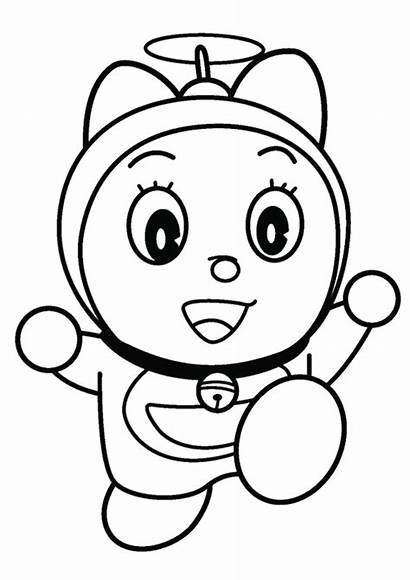 Doraemon Gambar Kartun Sketsa Mewarnai Dorami Hitam