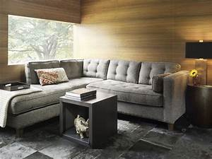 Contemporary small living room decoration gray sofa for Sectional furniture for small rooms