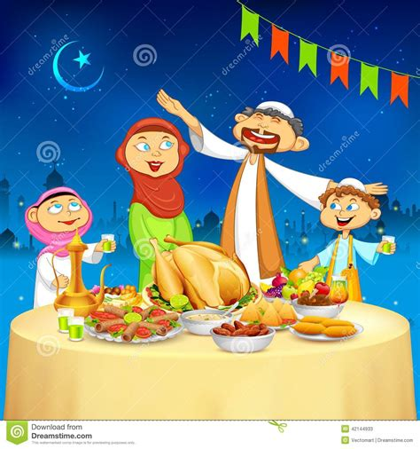 muslim family  iftar party stock vector image