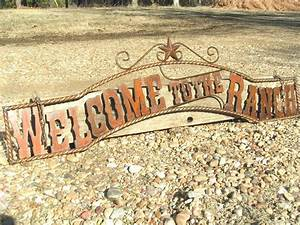 large metal cutout letters welcome to the ranch sign wall With metal letters for gates