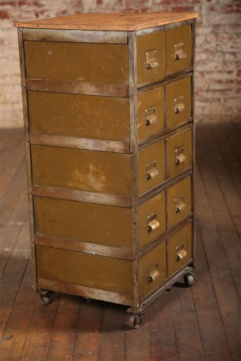 Vintage Industrial Multi Drawer Metal Cabinet at 1stdibs