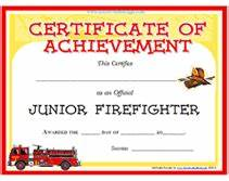 free printable junior firefighter award certificate With fire safety certificate template