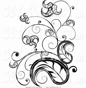 Vine clipart flower scroll - Pencil and in color vine ...