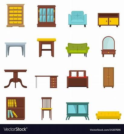 Furniture Cartoon Vector Office Flat Vectors