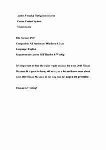 2010 Nissan Maxima Service Repair Workshop Manual Download