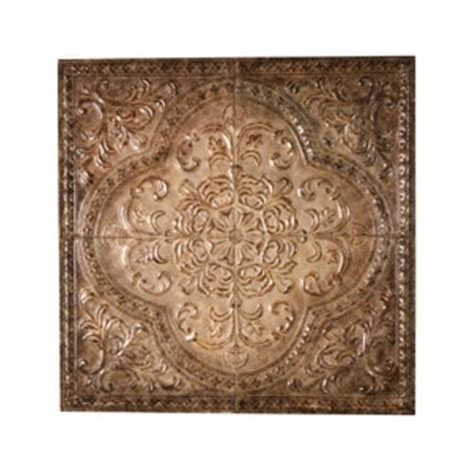 tuscan embossed ceiling tile design 31 quot square wall decor burnished brown tile design ceiling