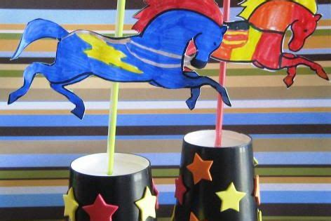 carousel horse craft    printable    colourful paper cup craft horse