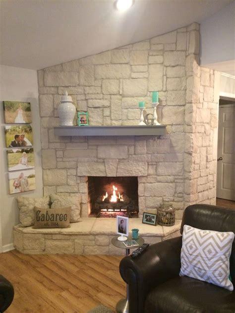 austin stone fireplace creates  warm home   white