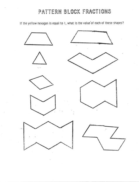 pattern block fraction worksheets 1000 ideas about