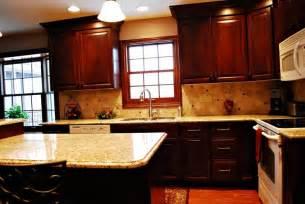 venetian gold granite cherry cabinets kitchen cherries islands and the window