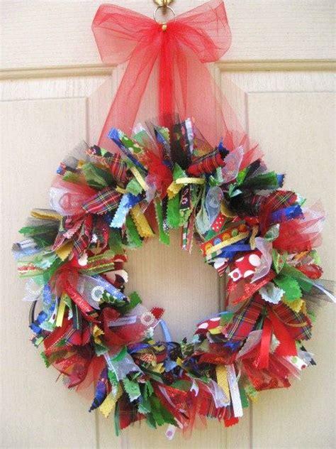 fabric wreath whimsical christmas  wreaths  pinterest