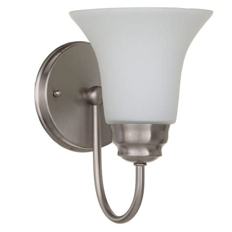 L Sconce - commercial electric 1 light brushed nickel sconce with