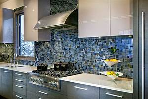 18 gleaming mosaic kitchen backsplash designs for Blue tile backsplash kitchen