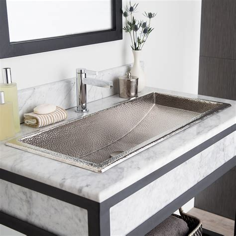 Trough 36 Rectangular Brushed Nickel Bathroom Sink